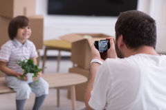 Photoshooting with kid model. At studio as new modern home Royalty Free Stock Images
