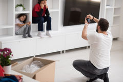 Photoshooting with kids models. At studio as new modern home Stock Images