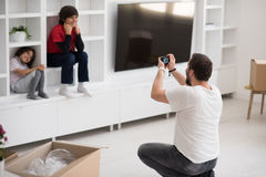 Photoshooting with kids models. At studio as new modern home Royalty Free Stock Photography