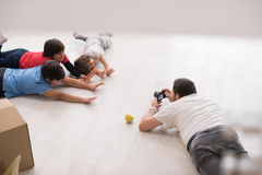 Photoshooting with kids models. At studio as new modern home Stock Photos