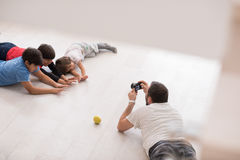 Photoshooting with kids models. At studio as new modern home Royalty Free Stock Photos