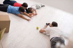 Photoshooting with kids models. At studio as new modern home Stock Photo