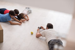 Photoshooting with kids models. At studio as new modern home Royalty Free Stock Images