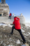 Photoshooting in mountain Royalty Free Stock Photos