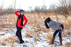 Photoshooting in winter Stock Photos
