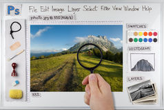 Photoshop. Concept photo of Adobe Photoshop workspace Royalty Free Stock Photography