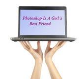 Photoshop is de beste vriend van een meisje Stock Foto's