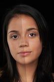 Photoshop för kvinnaframsida före och efter royaltyfri fotografi
