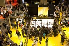 Photoshow: De tribune van Nikon royalty-vrije stock afbeelding