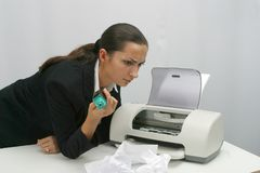 Photoshow office. Business woman is printing in office stock photo