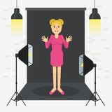 Photostudio girl sitting. Girl in photo studio. Equipment for photo studio, production of films and advertising. Flat vector cartoon illustration. Objects Royalty Free Stock Photo