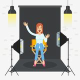 Photostudio girl sitting. Girl in photo studio. Equipment for photo studio, production of films and advertising. Flat vector cartoon illustration. Objects Stock Photos