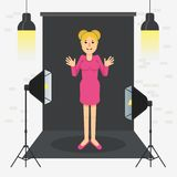Photostudio girl standing. Girl in photo studio. Equipment for photo studio, production of films and advertising. Flat vector cartoon illustration. Objects Stock Images