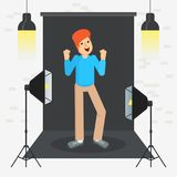 Photostudio guy cool. Set of black video production icons. Equipment for photo studio, production of films and advertising. Flat vector cartoon illustration Royalty Free Stock Photo
