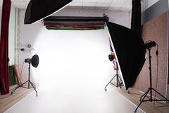 Photostudio with lights on Stock Photo