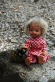 Phototeries - poupée d'yeux bleus avec un pinecone photographie stock libre de droits