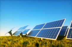 Photovoltaic with blue sky. 3d render image of grass field with photovoltaic Royalty Free Stock Image