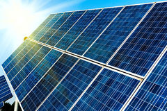 Photovoltaic celler eller solpaneler Royaltyfria Bilder