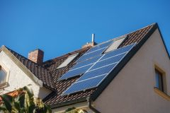 Photovoltaic cells on the roof Stock Photos