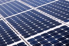 Photovoltaic cells - solar energy. Photovoltaic cells in a solar panel - perspective view stock photography