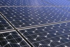 Photovoltaic cells in a solar panel. Perspective view royalty free stock images