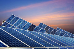 Photovoltaic cells under the setting sun inshanghai Royalty Free Stock Images