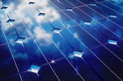 Photovoltaic with cloudy sky reflection. 3D computer generated image Stock Photos