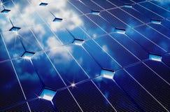 Photovoltaic with cloudy sky reflection Stock Photos