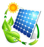 Photovoltaic concept - panel leaves and sun Stock Photography