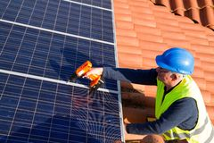 Photovoltaic engineer Royalty Free Stock Image