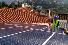 Photovoltaic engineer Stock Images
