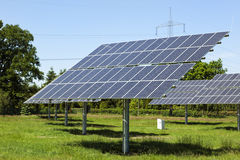 Photovoltaic modules at small solar power plant Royalty Free Stock Photo