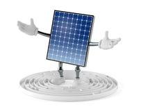 Photovoltaic paneelkarakter binnen labyrint royalty-vrije illustratie