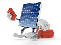 Photovoltaic paneelkarakter met troffel en bakstenen vector illustratie