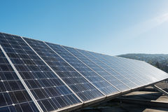 Photovoltaic panel against sky Stock Photo