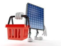 Photovoltaic panel character holding empty shopping basket. Isolated on white background. 3d illustration royalty free illustration