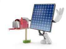 Photovoltaic panel character with mailbox. Isolated on white background. 3d illustration stock illustration