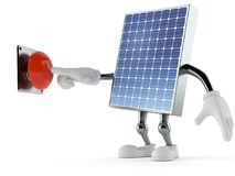Photovoltaic panel character pushing button. Isolated on white background. 3d illustration Stock Image