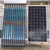 Solar Hot Water. Photovoltaic Panel and Solar Water Heating Renewable Energy Stock Photo