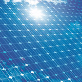 Photovoltaic panel with sun reflection. Royalty Free Stock Photo