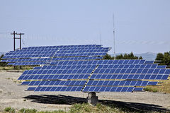 Photovoltaic panels. Ground installation of photo-voltaic modules, solar panels royalty free stock photography