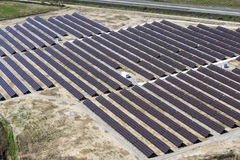 Photovoltaic panels aerial view. Aerial view of a large installation of photovoltaic panels royalty free stock photo