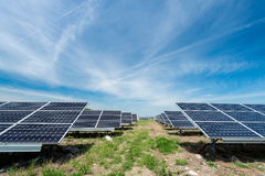 Photovoltaic panels - alternative electricity source. р produces electricity from sunlight Stock Photos