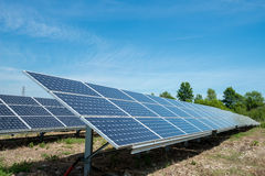 Photovoltaic panels - alternative electricity source. р produces electricity from sunlight Royalty Free Stock Image