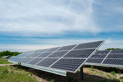 Photovoltaic panels - alternative electricity source. р produces electricity from sunlight Stock Photo