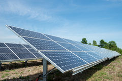 Photovoltaic panels - alternative electricity source. р produces electricity from sunlight stock photography