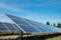 Photovoltaic panels - alternative electricity source. р produces electricity from sunlight Royalty Free Stock Photo