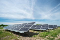 Photovoltaic panels - alternative electricity source. р produces electricity from sunlight stock image