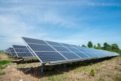 Photovoltaic panels - alternative electricity source. р produces electricity from sunlight Royalty Free Stock Photos