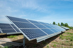 Photovoltaic panels - alternative electricity source. р produces electricity from sunlight stock images